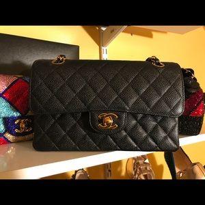 Authentic Chanel Black Caviar 2.55 Medium Bag